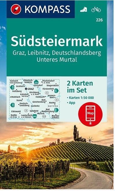 KP-226 Südsteiermark | Kompass wandelkaart 1:50.000 9783990448342  Kompass Wandelkaarten Kompass Oostenrijk  Wandelkaarten Salzburg, Karinthië, Tauern, Stiermarken