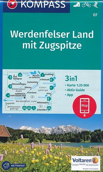 KP-07  Werdenfelser Land | Kompass wandelkaart 1:50.000 9783990448397  Kompass Wandelkaarten Kompass Duitsland  Wandelkaarten Beierse Alpen