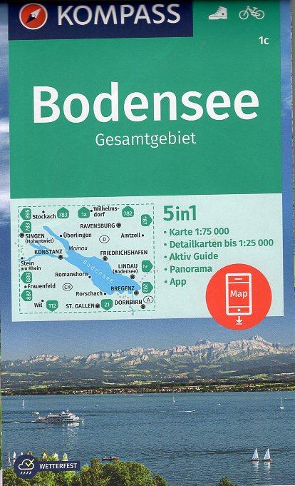 KP-1c Bodensee Gesamtgebiet | Kompass wandelkaart 9783990448410  Kompass Wandelkaarten Kompass Duitsland  Landkaarten en wegenkaarten Bodenmeer, Schwäbische Alb, Noordoost- en Centraal Zwitserland
