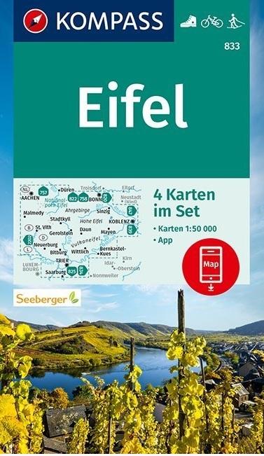 KP-833  Eifel 1:50.000 (set van vier kaarten) 9783990448489  Kompass Wandelkaarten Kompass Duitsland  Wandelkaarten Eifel