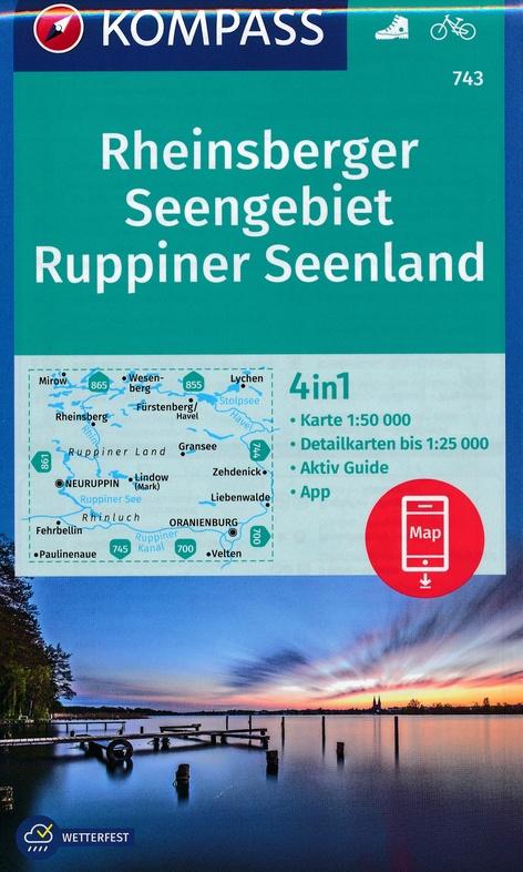 KP-743 Rheinsberger Seengebiet, Ruppiner Land | Kompass wandelkaart 9783990448519  Kompass Wandelkaarten Kompass Duitsland  Wandelkaarten Brandenburg & Sachsen-Anhalt