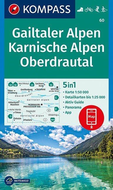 KP-60 Gailtaler Alpen-Karnische Alpen 1:50.000 | Kompass wandelkaart 9783990448571  Kompass Wandelkaarten Kompass Oostenrijk  Wandelkaarten Salzburg, Karinthië, Tauern, Stiermarken