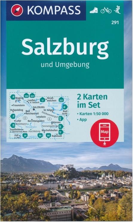 wandelkaart KP-291 Salzburg & omgeving 1:50.000 9783990448595  Kompass Wandelkaarten Kompass Oostenrijk  Wandelkaarten Salzburger Land & Stiermarken