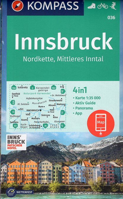 KP-036 Innsbruck und Umgebung | Kompass wandelkaart 9783990448618  Kompass Wandelkaarten Kompass Oostenrijk  Wandelkaarten Tirol & Vorarlberg