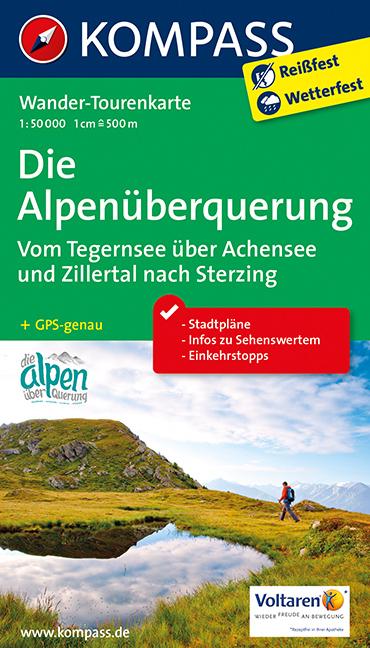 KP-2556 Alpenüberquerung 1:50.000 9783990448656  Kompass Wandelkaarten   Lopen naar Rome, Wandelkaarten Zwitserland en Oostenrijk (en Alpen als geheel)