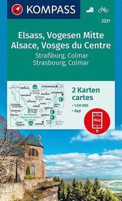 KP-2221 Vogezen Centraal (Vogesen-Mitte) 1:50.000 | Kompass wandelkaart 9783990448717  Kompass Wandelkaarten   Lopen naar Rome, Wandelkaarten Vogezen
