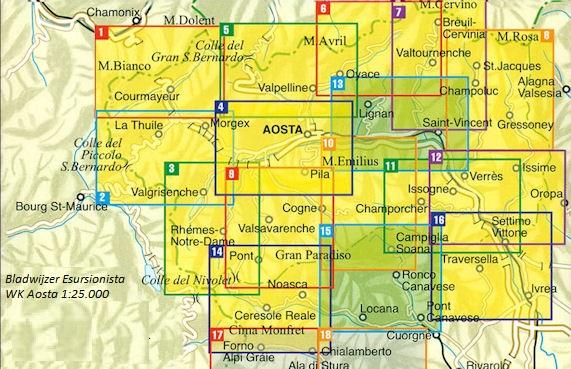 ESC-08  Monte Rosa   wandelkaart 1:25.000 9788898520688  Escursionista Carta dei Sentieri 1:25.000  Wandelkaarten Aosta, Gran Paradiso