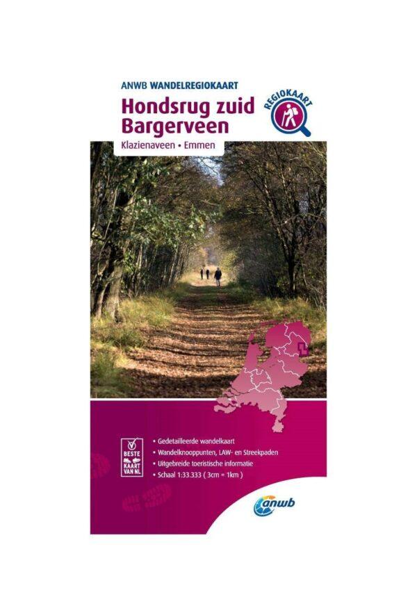 WRK-07 Hondsrug Zuid, Bargerveen   ANWB wandelkaart 1:33.333 9789018046415  ANWB Wandelregiokaarten 1:33.333  Wandelkaarten Drenthe