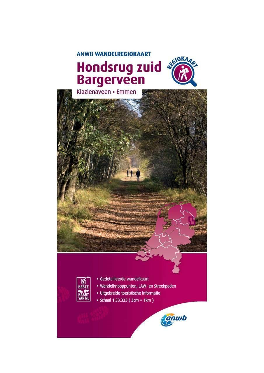 WRK-07 Hondsrug Zuid, Bargerveen | ANWB wandelkaart 1:33.333 9789018046415  ANWB Wandelregiokaarten 1:33.333  Wandelkaarten Drenthe