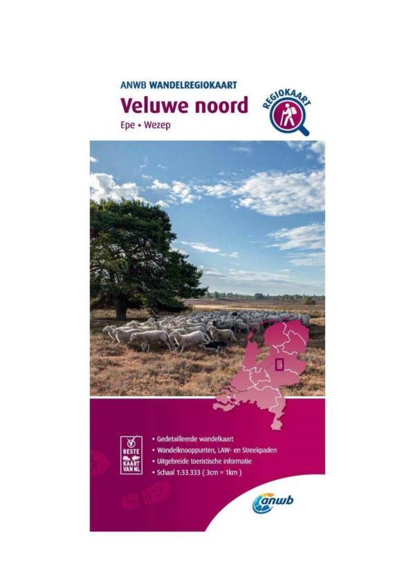 WRK-12 Veluwe Noord | ANWB wandelkaart 1:33.333 9789018046460  ANWB Wandelregiokaarten 1:33.333  Wandelkaarten Arnhem en de Veluwe
