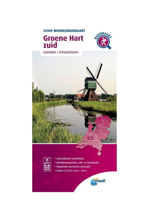 WRK-25 Groene Hart zuid | ANWB wandelkaart 1:33.333 9789018046590  ANWB Wandelregiokaarten 1:33.333  Wandelkaarten Den Haag, Rotterdam en Zuid-Holland