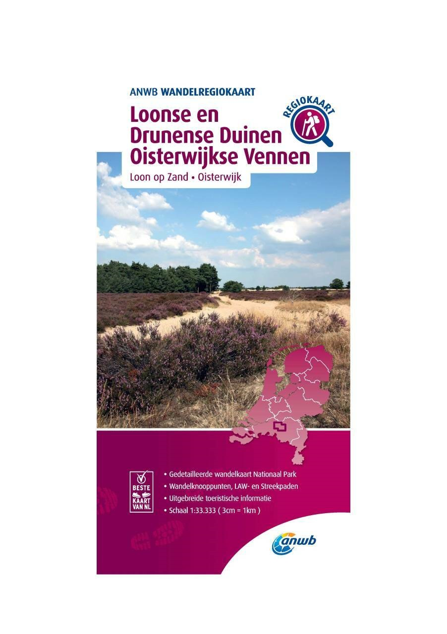 WRK-34 Loonse en Drunense Duinen, Oisterwijkse Vennen 9789018046682  ANWB Wandelregiokaarten 1:33.333  Wandelkaarten Noord-Brabant