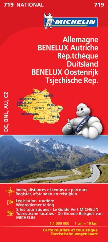 719 Duitsland/Oostenrijk/Benelux/Tsjechië 1:1.000.000 9782067219830  Michelin Michelinkaarten Jaaredities  Landkaarten en wegenkaarten Duitsland