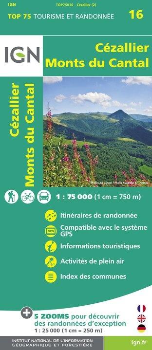 Cézallier, Monts du Cantal | IGN overzichts- en wandelkaart 9782758535843  IGN TOP 75  Fietskaarten, Wandelkaarten Auvergne
