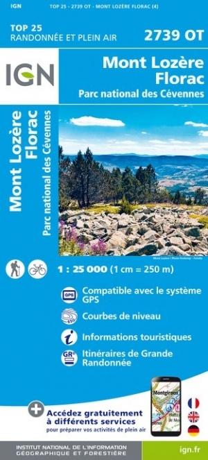 2739OT  Mont-Lozère, Florac | wandelkaart 1:25.000 9782758543107  IGN TOP 25  Wandelkaarten Cevennen, Languedoc