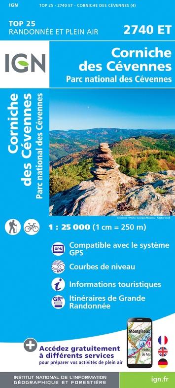 2740ET  Corniche-des-Cévennes | wandelkaart 1:25.000 9782758546597  IGN TOP 25  Wandelkaarten Cevennen, Languedoc