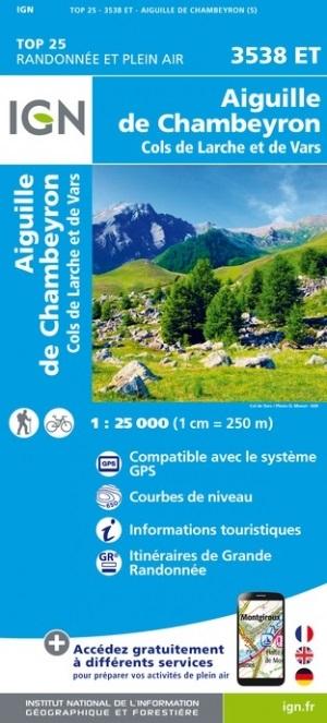 wandelkaart 3538ET Chambeyron, St-Paul,Col-de-Vars 1:25.000 9782758550297  IGN IGN 25 Franse Alpen/ zuidhelft  Wandelkaarten Écrins, Queyras