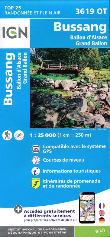 3619OT   Ballon d'Alsace, Bussang | wandelkaart 1:25.000 9782758550365  IGN TOP 25  Wandelkaarten Vogezen