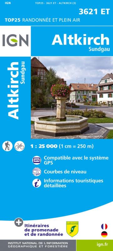 3621ET   Altkirch omgeving | wandelkaart 1:25.000 9782758550396  IGN TOP 25  Wandelkaarten Vogezen