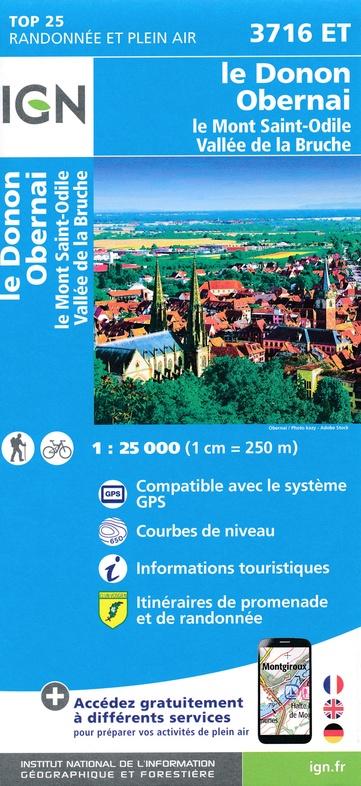 3716ET  Mont Ste-Odile - Molsheim - Obernai | wandelkaart 1:25.000 9782758550471  IGN TOP 25  Wandelkaarten Vogezen