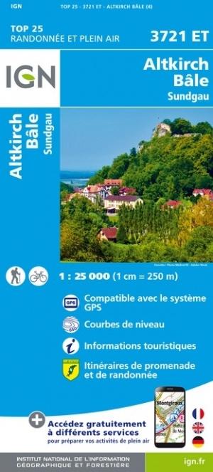 3721ET Altkirch, Sundgau  | wandelkaart 1:25.000 9782758550563  IGN TOP 25  Wandelkaarten Vogezen