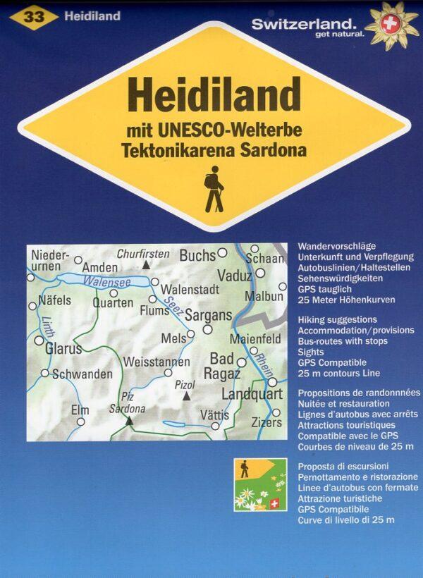 KFW-33 Heidiland 1:50.000 9783259008294  Kümmerly & Frey Wandelkaarten Zwitserland  Wandelkaarten Noordoost- en Centraal Zwitserland