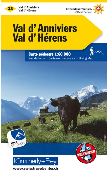 KFW-23  Val d'Anniviers, Montana | wandelkaart / overzichtskaart 9783259022238  Kümmerly & Frey Wandelkaarten Zwitserland  Wandelkaarten Wallis