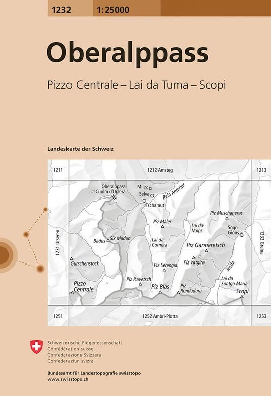 CH-1232  Oberalppass [2019] topografische wandelkaart 9783302012322  Bundesamt / Swisstopo LKS 1:25.000 Midden/Oost-Zw.  Wandelkaarten Graubünden, Midden- en Oost-Zwitserland