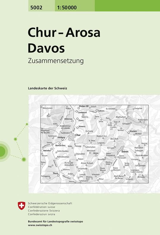 CH5002  Chur - Arosa - Davos [2019] 9783302050027  Bundesamt / Swisstopo Zusammensetzung 50T  Wandelkaarten Graubünden, Tessin