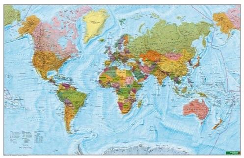 The World International political 1:35.000.000 | met aluminium strips 9783707918366  Freytag & Berndt   Wandkaarten Wereld als geheel