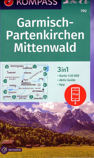 KP-790 Garmisch Partenkirchen/Mittenwald | Kompass wandelkaart 9783854915812  Kompass Wandelkaarten Kompass Duitsland  Wandelkaarten Beierse Alpen