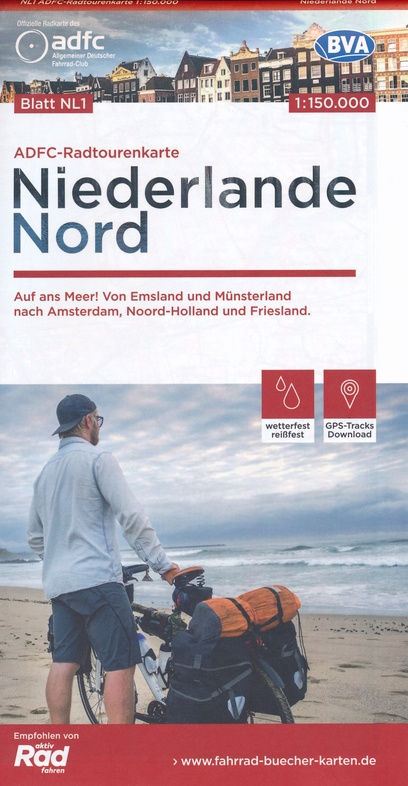 ADFC-NL1 Nederland Noord | fietskaart 1:150.000 9783870739461  ADFC / BVA Radtourenkarten 1:150.000  Fietskaarten Nederland