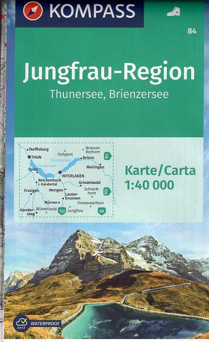 KP-84  Jungfrau Region | Kompass wandelkaart 1:40.000 9783990440612  Kompass Wandelkaarten Kompass Zwitserland  Wandelkaarten Berner Oberland, Basel, Jura, Genève