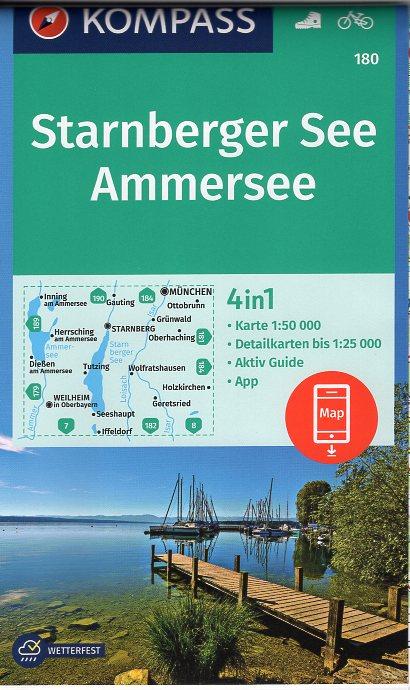 KP-180 Starnberger See/Ammersee | Kompass wandelkaart 9783990445204  Kompass Wandelkaarten Kompass Duitsland  Wandelkaarten München en omgeving
