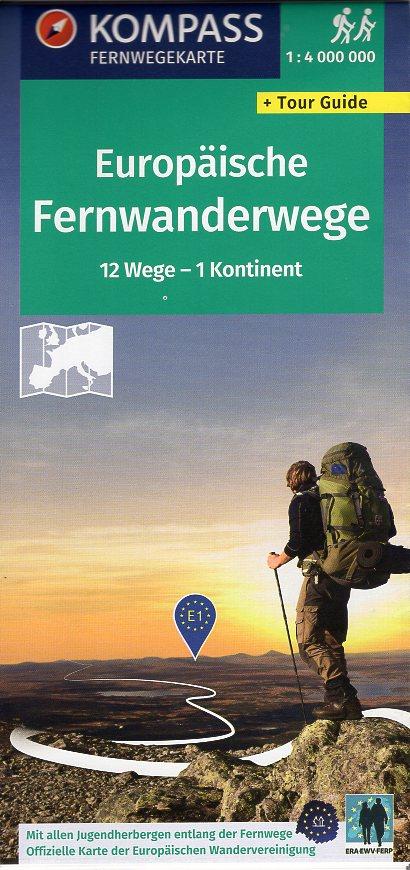 KP-2562 KOMPASS Fernwegekarte Fernwanderwege Europa 9783990448175  Kompass Wandelkaarten   Wandelkaarten Europa