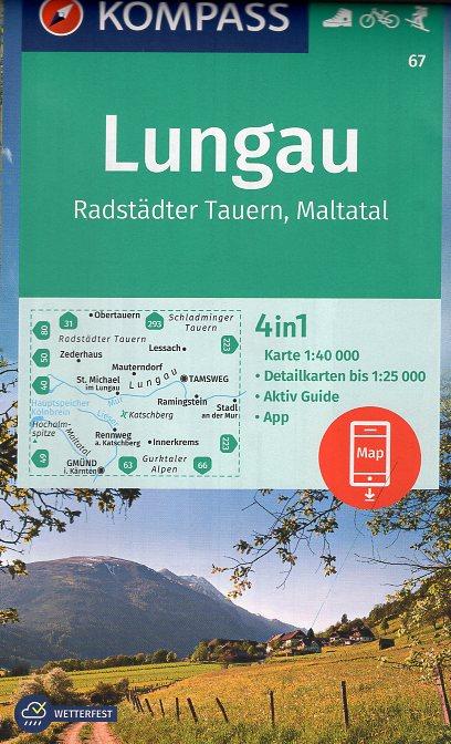 KP-67 Lungau - Radstädter Tauern | Kompass wandelkaart 9783990448632  Kompass Wandelkaarten Kompass Oostenrijk  Wandelkaarten Salzburg, Karinthië, Tauern, Stiermarken