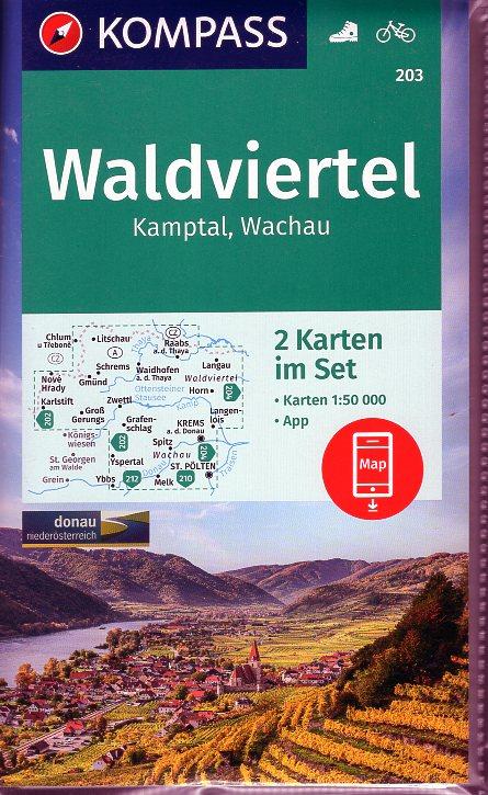 KP-203  Waldviertel, Kamptal, Wachau | Kompass wandelkaart 9783990448793  Kompass Wandelkaarten Kompass Oostenrijk  Wandelkaarten Wenen, Noord- en Oost-Oostenrijk