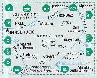 KP-34 Tuxer Alpen | Kompass wandelkaart 9783990448830  Kompass Wandelkaarten Kompass Oostenrijk  Wandelkaarten Tirol & Vorarlberg