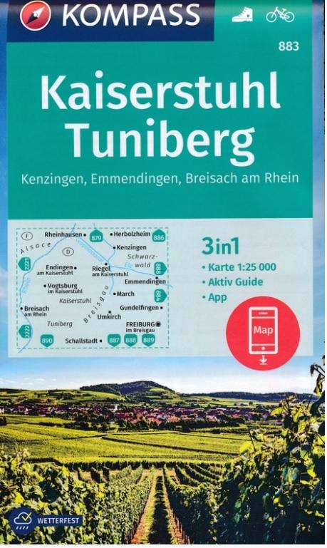 KP-883 Kaiserstuhl/Tuniberg | Kompass 9783990449134  Kompass Wandelkaarten Kompass Duitsland  Wandelkaarten Zwarte Woud