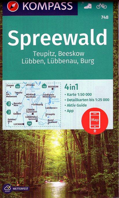 KP-748 Spreewald 1:50.000 9783990449264  Kompass Wandelkaarten Kompass Duitsland  Wandelkaarten Brandenburg & Sachsen-Anhalt