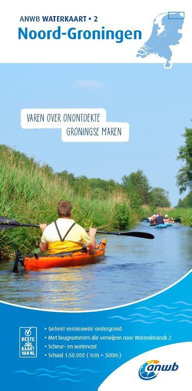 WTK-02 Noord-Groningen Waterkaart 9789018045975  ANWB ANWB Waterkaarten  Watersportboeken Groningen