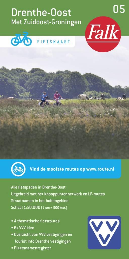 FFK-05  Drenthe-Oost | VVV fietskaart 1:50.000 9789028703728  Falk Fietskaarten met Knooppunten  Fietskaarten Drenthe