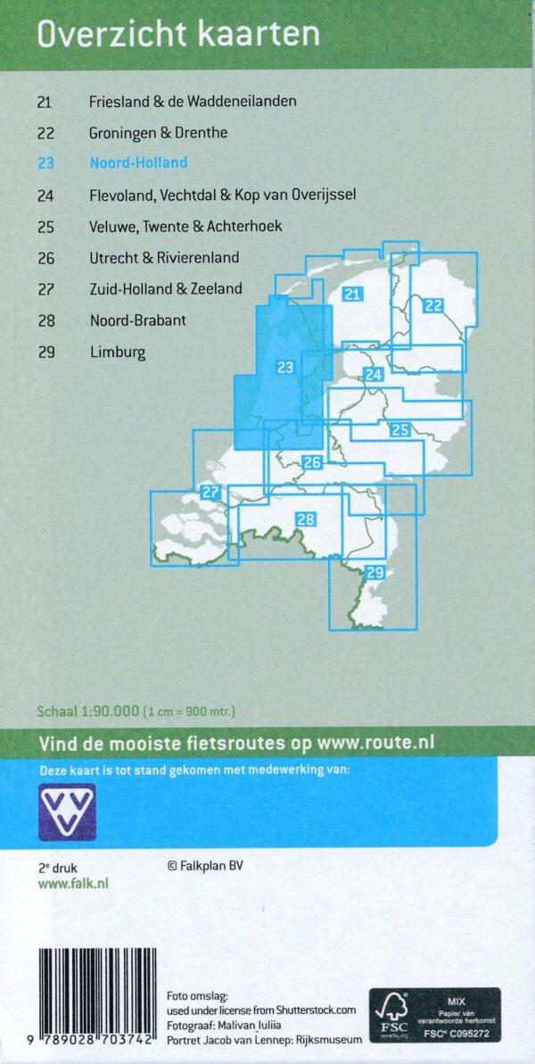 FKP-23 Noord-Holland fietskaart 1:90.000 9789028703742  Falk Fietsknooppuntenkaart  Fietskaarten Noord-Holland