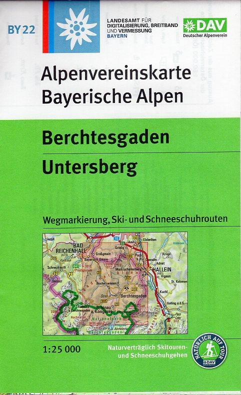 BY-22 Berchtesgaden, Untersberg 1:25.000 Alpenvereinskarte 9783937530932  Deutscher AlpenVerein Alpenvereinskarten  Wandelkaarten Beierse Alpen