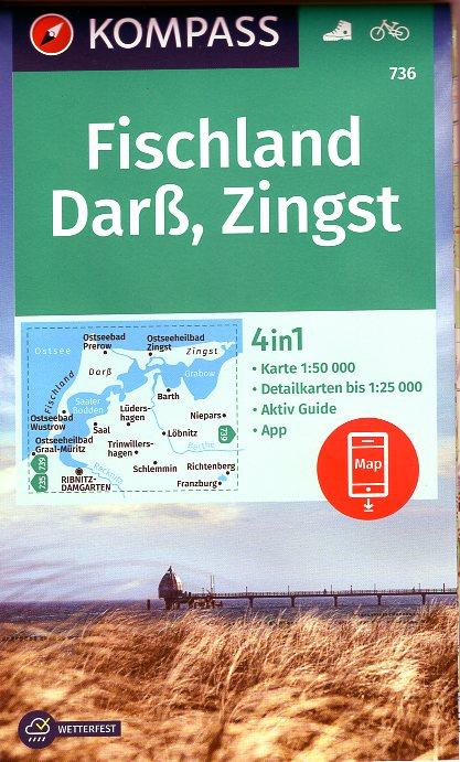 KP-736  Fischland, Darss, Zingst | Kompass wandelkaart 9783990449271  Kompass Wandelkaarten Kompass Duitsland  Wandelkaarten Mecklenburg-Vorpommern