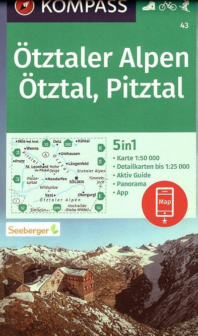wandelkaart KP-43  Ötztaler Alpen | Kompass 9783990449431  Kompass Wandelkaarten Kompass Oostenrijk  Wandelkaarten Tirol