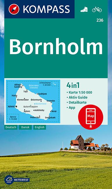KP-236 wandelkaart / wegenkaart Bornholm | Kompass wandelkaart 9783990449523  Kompass Wandelkaarten   Wandelkaarten Denemarken