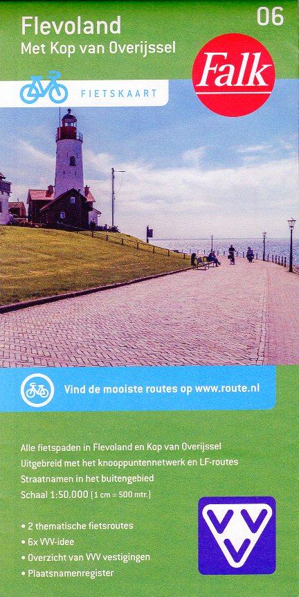 FFK-06  Flevoland | VVV fietskaart 1:50.000 9789028701045  Falk Fietskaarten met Knooppunten  Fietskaarten Flevoland en het IJsselmeer, Kop van Overijssel, Vecht & Salland