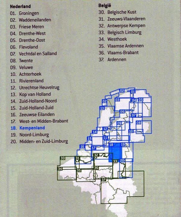 FFK-18  Kempenland | VVV fietskaart 1:50.000 9789028703896  Falk Fietskaarten met Knooppunten  Fietskaarten Noord-Brabant