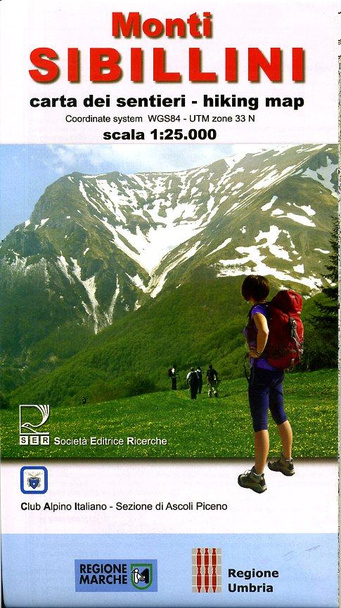 Parco Nazionale dei Monti Sibillini 1:25.000 SIBILLINI  SER Club Alpino Italiano  Wandelkaarten De Marken